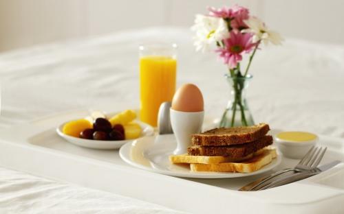 bien-etre,idée,détente,petit-déjeuner,lit
